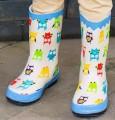 小孩雨靴 - 米黃色七彩貓頭鷹